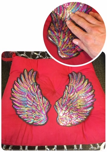 Applikation Pailletten Lippe silber mit Pailletten zum Bügeln 27x14 cm