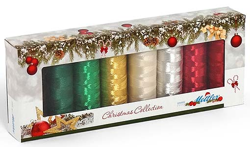 METTLER WEIHNACHTS KIT POLY SHEEN PES. NO.40 ARTIKEL 3406, 6 SPULEN À 200M, METALLIC ARTIKEL 7633 2 SPULEN À 100M (KEIN LAGERARTIKEL)