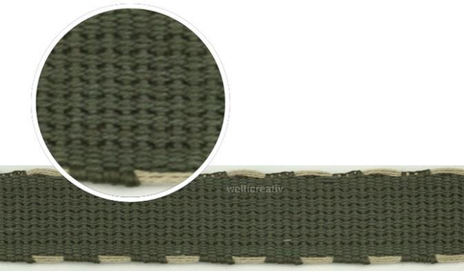 WELTI-TRENDLINE GURTENBAND TASCHENBAND, SEITLICH BAUMWOLL-STICHE NATURAL-ECRU 90% PES 10% CO 2.5CM, KHAK-GRÜN / OLIVE-GRÜN, OEKOTEX Certified made in EU (kein Lagerartikel)