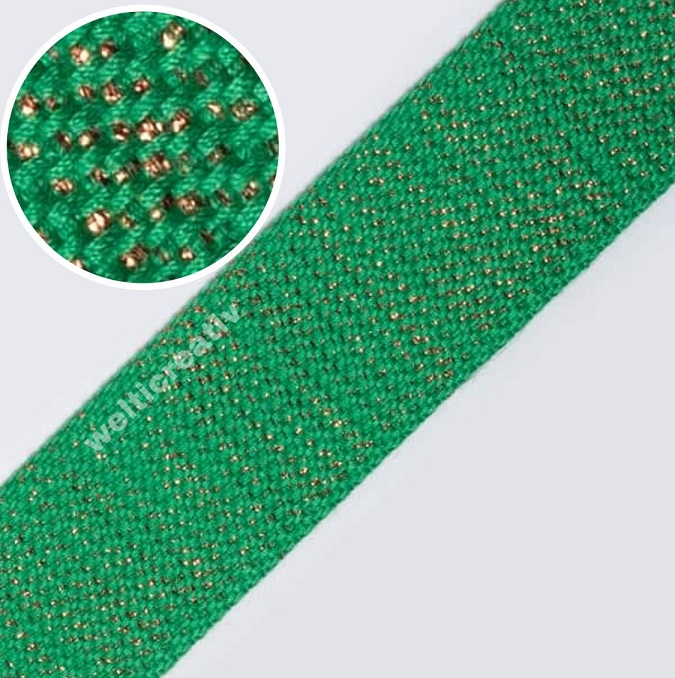 WELTI-TRENDLINE TASCHENABND GURTENBAND 90% PES 10% LUREX, 4CM GRÜN / BRONZE-LUREX, OEKOTEX Certified made in EU (kein Lagerartikel)