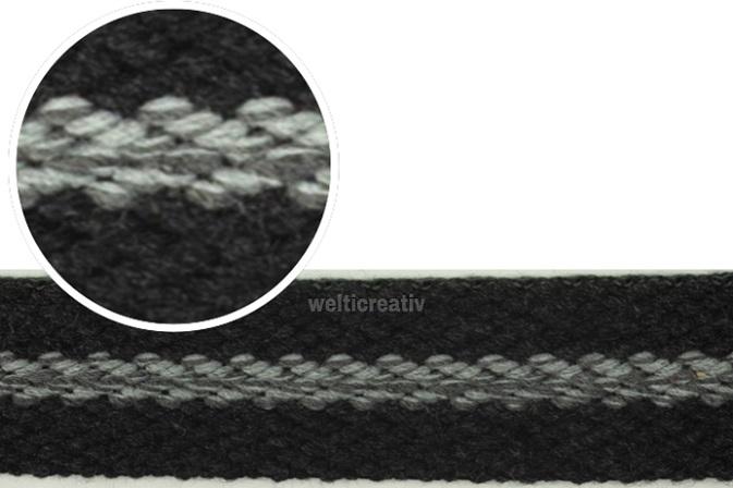 WELTI-TRENDLINE TASCHENBAND GURTENBAND MIT STREIFEN 100% PES 4CM, GRAU / DUNKEL-GRAU, OEKOTEX Certified made in EU (kein Lagerartikel)