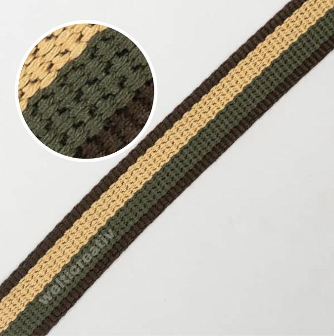 WELTI-TRENDLINE TASCHENBAND GURTENBAND MIT STREIFEN 100% CO, 2.5CM, BRAUN / ECRU / OLIV-GRÜN, OEKOTEX Certified made in EU (kein Lagerartikel) Gemäss Lieferant ausverkauft