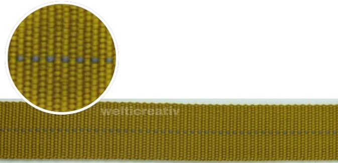 WELTI-TRENDLINE TASCHENBAND GURTEN-BAND MIT STREIFEN, 100% PES, 2.5CM DUNKEL-SENF / TAUPE, OEKOTEX Certified made in EU (kein Lagerartikel)