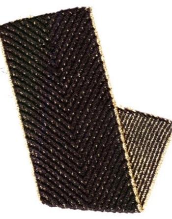 ELAST GURTBAND FISCHGRÄD DESIGN 70% PES 20% EL 10% LUREX 60MM SCHWARZ / GOLD-LUREX, OEKOTEX Certified made in EU(kein Lagerartikel)
