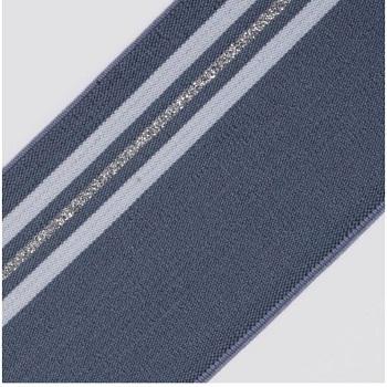 ELAST GURTBAND MIT STREIFEN 60% PES 30% EL 10% LUREX 80MM BLAU / WEISS / SILBER-LUREX, OEKOTEX Certified made in EU (kein Lagerartikel)