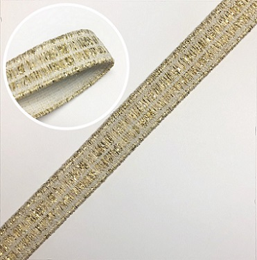 ELAST BAND MIT LUREX 60% PES 30% EL10% LUREX 15MM ECRU-WEISS / GOLD-LUREX, OEKOTEX Certified made in EU (kein Lagerartikel)