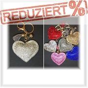 Strass Herz Anhänger auch als Taschen-Deko, Rucksack-Deko-Mode-Schmuck Schlüssel-Deko-Anhänger gesucht