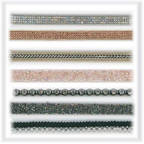 Rubans en strass et en perles